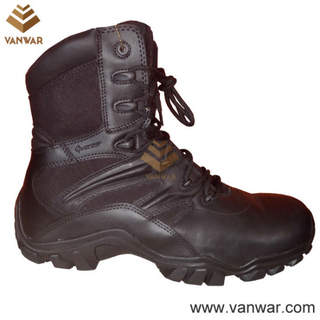 Us Well Constructed Black Leather Tactical Military Boots (WTB033)