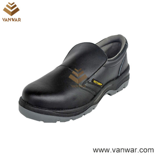 Black Cow Leather Working Safety Shoes with Dual PU Injection (WSS007)