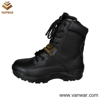 Hot Sale Black Leather Combat Military Boots (WCB050)