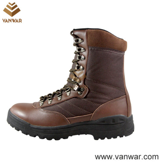 Unisex Brown Military Combat Boots of Leather and Fabric (WCB018)