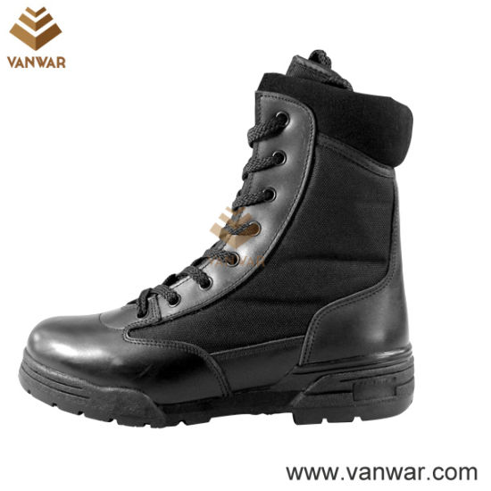 Steel Toe Cap Combat Military Boots of Full Black Leather (WCB012)