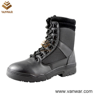 Black Cow Leather Military Boots